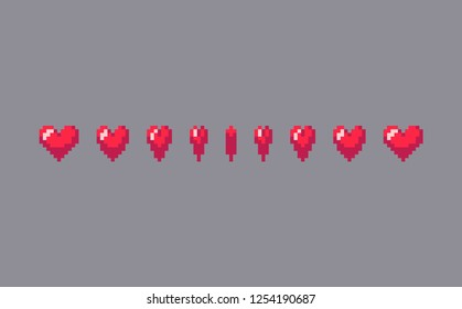 Pixel art heart sign animation. Vector illustration.
