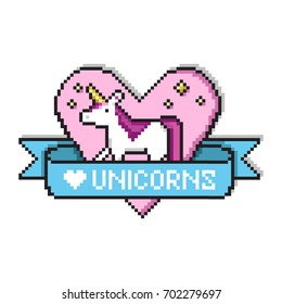 Pixel art heart with unicorn, golden stars, ribbon and text. Love unicorns quote in game style design. Pixel art print for t-shirt, cards, posters.