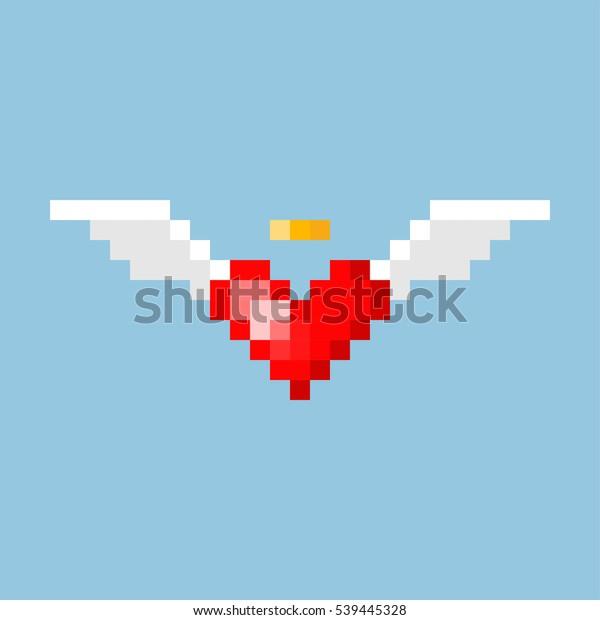 Image Vectorielle De Stock De Pixel Art Coeur Avec Ailes En 539445328