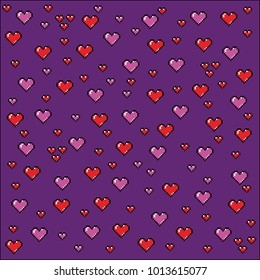 Pixel art hearts background, video game style vector illustration