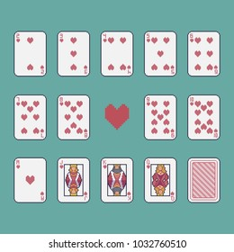 Pixel art hearts playing cards vector set.