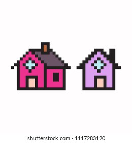 Pixel art house. Vector 8 bit game web icon set isolated on white background.