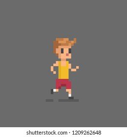 Pixel art icon running man. Vector illustration.