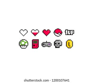 pixel art icon set inspired by oldschool games