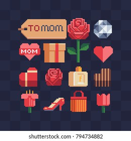 Pixel art icons. Element for the design of the greeting card International Women's Day, Mother's Day. Logo for flower or jewelry store, website. Happy Valentine's Day. Isolated vector illustration.