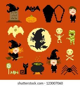 Pixel art icons for halloween, vector