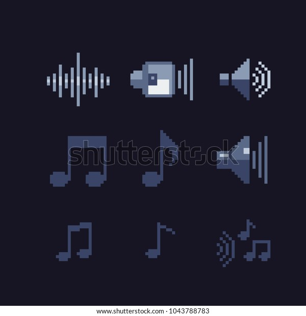 Pixel Art Icons Set Audio Editor Stock Vector (Royalty Free
