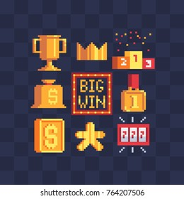 Pixel art icons set. Big Win, winning gold cup, money bag, winners podium. Golden crown, medal and coin. 777 slot machine. Casino vegas game. Flat style. Isolated abstract vector illustration. 8-bit.