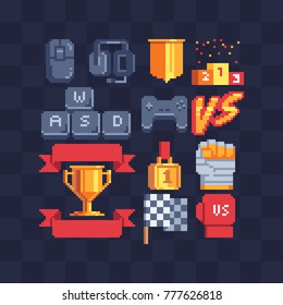 Pixel art icons set. Computer gamer devices. Game tournament achievement, versus logo. Winner's trophy award. 8-bit sprite. Game assets. Isolated abstract vector illustrations.