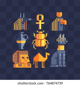 Pixel art icons set. Egyptian gods and mythology. Flat style. Symbols of Ancient Egypt Anubis, cat, pharaoh characters. Sphinx, camel, vase and scarab beetle. Isolated abstract vector illustrator.