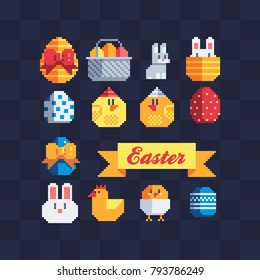 Pixel art icons set. Happy Easter greeting card design. Rabbit, bunny, eggs and baby chicken. Isolated vector illustration.