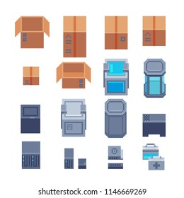 Сontainers pixel art icons set, paper boxes open closed, biochemical tube, first aid kit and processor. Isolated vector illustration. Desidn for logo and app.