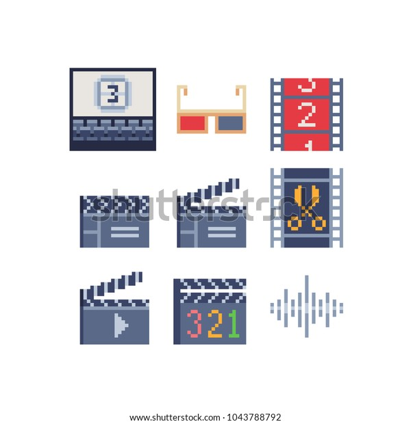 Pixel Art Icons Set Video Audio Stock Vector (Royalty Free) 1043788792