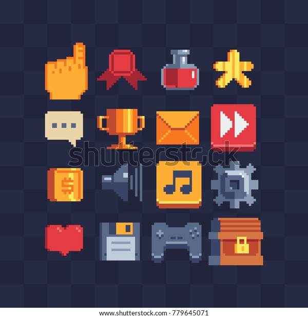 Pixel Art Icons Video Game Achievements Stock Vector (Royalty Free