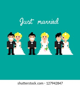 Pixel art icons for wedding, vector illustration