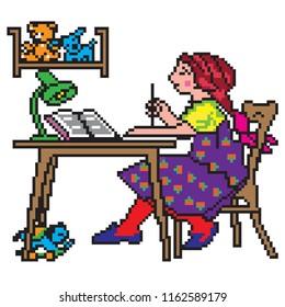 Pixel art illustration. School  student doing homework.