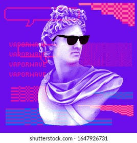 Pixel art ilustration with marble sculpture in sunglasses, Apollo Belvedere bust. Vaporwave and retrowave style collage, postmodern aesthetics of 80's-90's.
