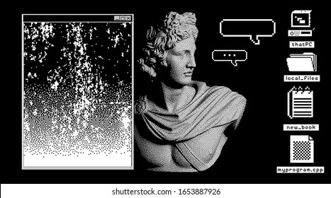 Pixel art ilustration with marble sculpture, Apollo Belvedere bust. Vaporwave and retrowave style collage, postmodern aesthetics of 80's-90's.