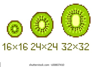 Pixel art kiwi icons in different size isolated on white background.