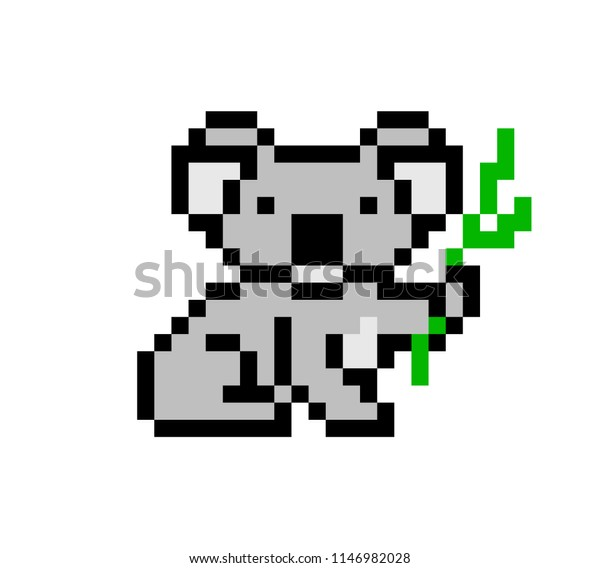 Pixel Art Koala Bear Character Isolated Animalswildlife