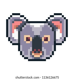 Pixel art koala icon isolated on white background.