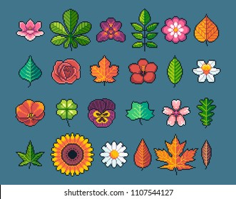Pixel art leaves and flowers vector icons set.