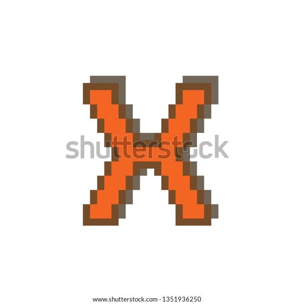 Pixel Art Letter X On White Stock Vector Royalty Free 1351936250
