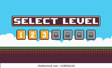 Pixel art level select screen with grass terrain, sky, clouds, buttons with numbers, locks and select level bar