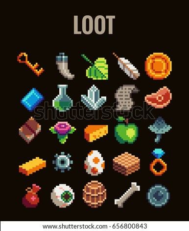 Pixel art loot set for video games . Retro style 8 bit icons.