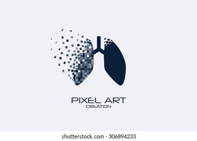 Pixel art lungs logo on white background.