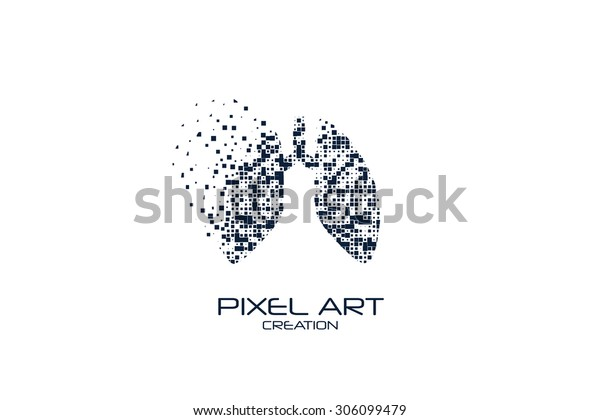 Pixel Art Lungs Logo On White Stock Vector Royalty Free