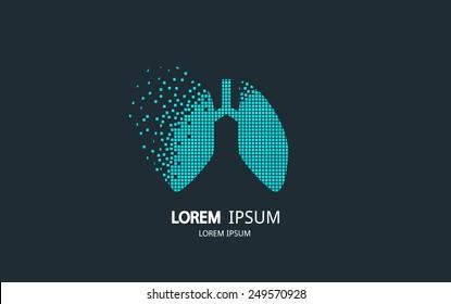 Pixel art lungs logo. Vector logotype design.