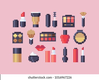 Pixel art makeup cosmetics vector icons set.