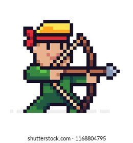 Pixel art male archer character aiming for target