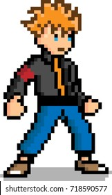 Pixel art Male character 8 bit video game isolated