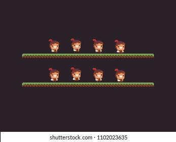 Pixel art male character run animation