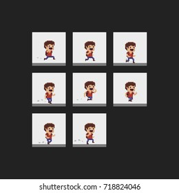 Pixel art male character run animation frames