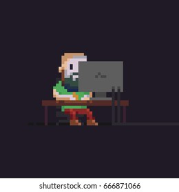 Pixel art male character sitting in front of computer display in the dark