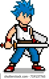 Pixel art Male sword man character 8 bit video game isolated