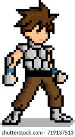 Pixel art Male warrior character 8 bit video game isolated