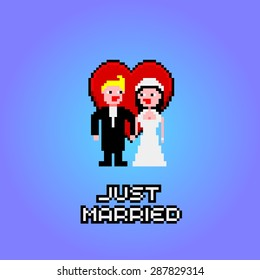 Pixel art with marriage, hearts and just married text banner