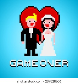 Pixel art with married couple, heart and game over text banner