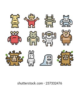 Pixel art monsters and animals collection isolated on white background.