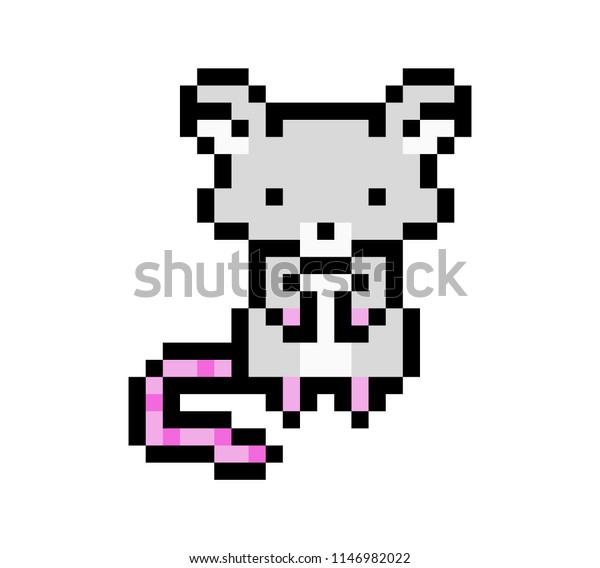 Pixel Art Mouse Isolated On White Stock Vector Royalty Free