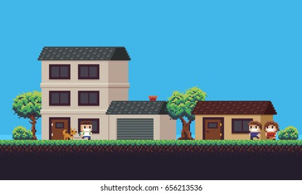 Pixel art neighborhood with houses, garage, couple, guy with a dog, trees, bushes and grass, game background