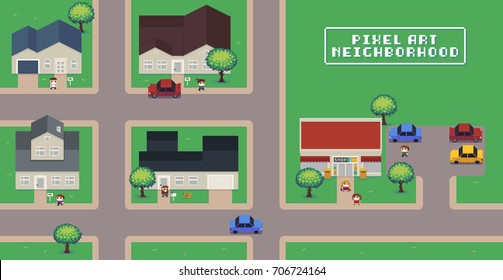 Pixel art neighborhood map with houses, shop, roads, cars, people and trees