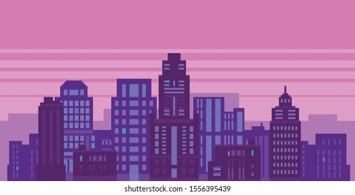 Pixel art neon night city with buildings panorama