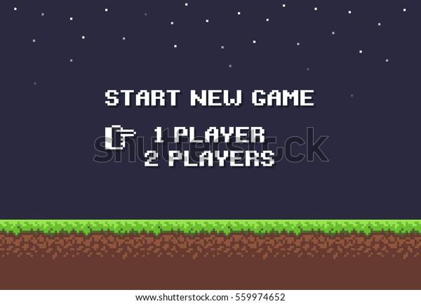Pixelart-Nachtspielhintergrund mit Gras, Schmutz, Steinen, Himmel und neuem Spiel 8-Bit-Text