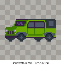 Pixel art off road car vehicle icon.
