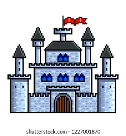 Pixel art old castle detailed isolated vector